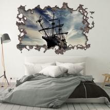 Vinile 3d foro muro barca pirati dei caraibi