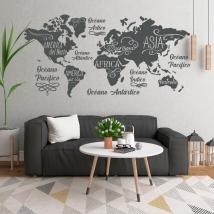 Vinili mappa del mondo oceani e continenti
