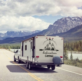 Adesivi per roulotte frase inglese destination camping