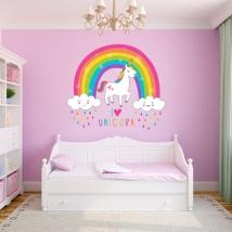 Adesivi murali unicorno con arcobaleno e nuvole