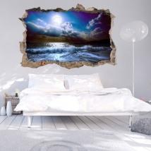 Adesivi murali 3d luna sulla spiaggia