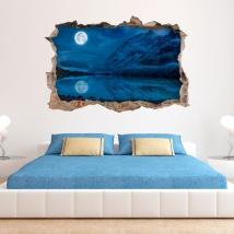 Adesivi murali 3d luna piena in inverno