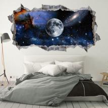 Vinile e adesivi 3d luna nello spazio