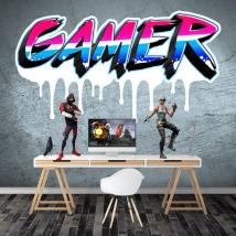 Vinili e adesivi testi personalizzati gamer effetto graffiti