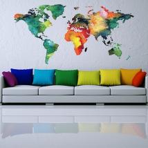 Vinili decorativi e adesivi mappa del mondo colorata