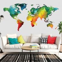 Vinili mappa del mondo colorata