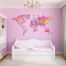 Vinili adesivi mappa del mondo colorata
