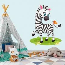 Stickers murali per bambini o neonati zebra e farfalla