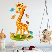 Vinile per bambini o neonati giraffa e farfalle