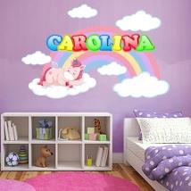 Stickers murali unicorno con nome personalizzato