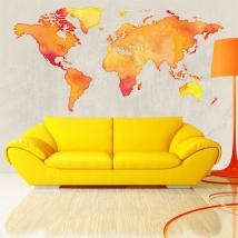 Vinili e adesivi mappa del mondo colorata
