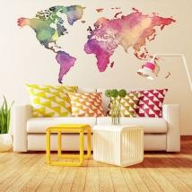 Vinili adesivo e adesivi mappa del mondo colorata