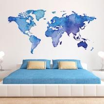 Vinile decorativo mappa del mondo colorata