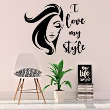 Vinili e adesivi viso di donna amo i love my style