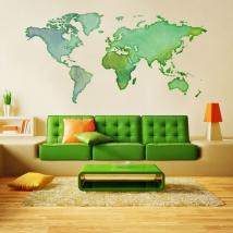 Vinili adesivi mappa del mondo colori