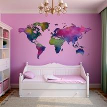 Adesivo murale colorato con mappa del mondo