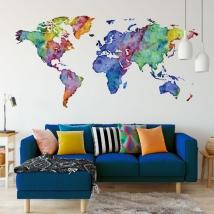 Adesivo murale mappamondo multicolore